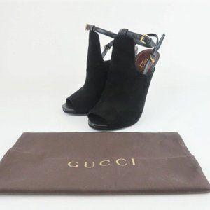 Gucci Jane Open Toe Booties Black Suede